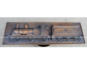 plaque de train en bronze sculpture en plein air